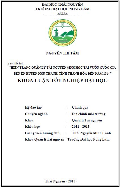 Hiện trạng quản lý tài nguyên sinh học tại vườn quốc gia Bến En huyện Như Thanh tỉnh Thanh Hóa đến năm 2014