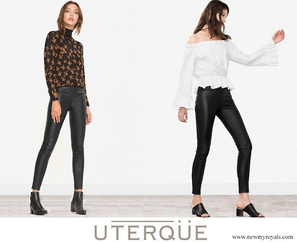 Queen Letizia- wore Uterque black leather pants