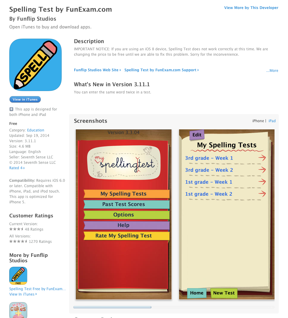 UCET Free iOS App Today: Spelling Test - UCET