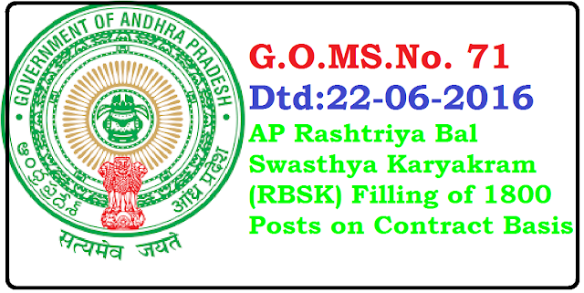 G.O.MS.No. 71 Dated: 22-06-2016 Health, Medical & Family Welfare Department- N.H.M. - Rashtriya Bal Swasthya Karyakram (RBSK) - School Health Programme - Filling of the posts on contract basis/ Out sourcing basis - Permission – Accorded - orders – Issued /2016/06/rashtriya-bal-swasthya-karyakram-rbsk-school-Health-programme-filling-of-the-posts-on-contract-basis.html