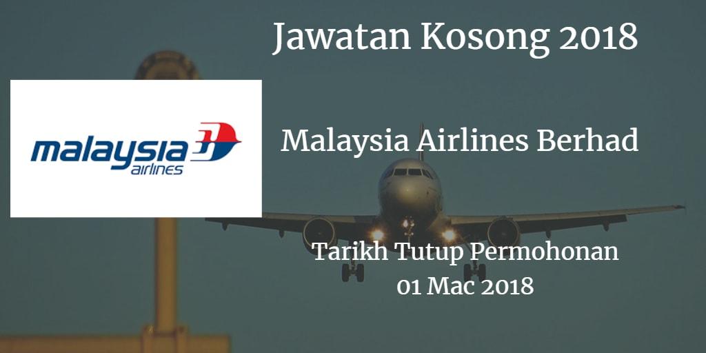 Jawatan Kosong Malaysia Airlines Berhad 01 Mac 2018