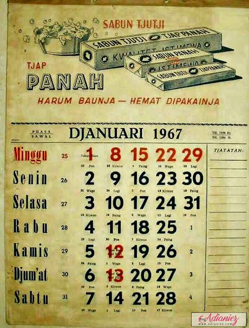 Kalender Antik Tahun 1967