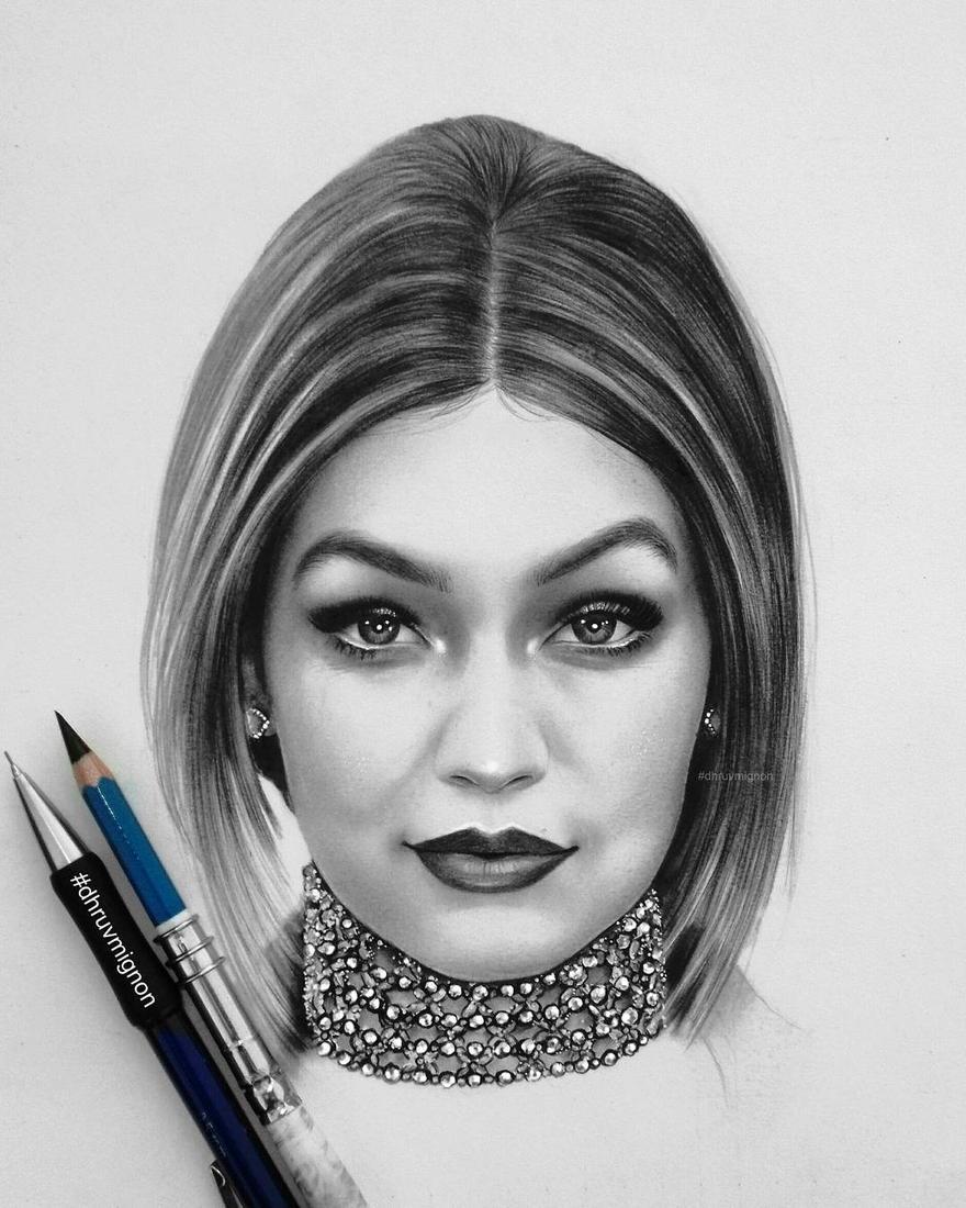 10-Gigi-Hadid-dhruvmignon-Celebrity-Miniature-Black-and-White-Pencil-Portraits-www-designstack-co