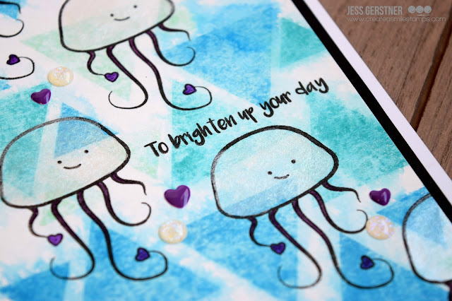 Jellyfish Card by Jess Gerstner for Create a Smile Stamps Glowing Seaside and Going Graphic