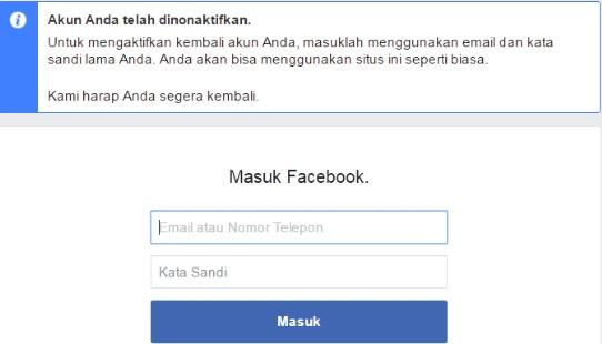 Akun Facebook telah berhasil dinonaktifkan