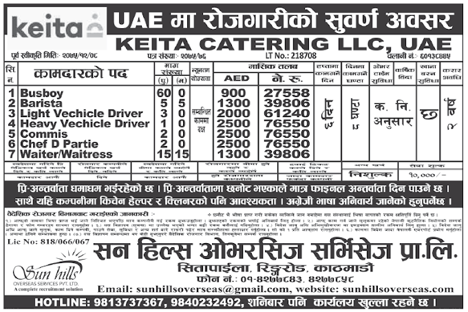 Jobs in UAE for nepali, Salary Rs 76,550