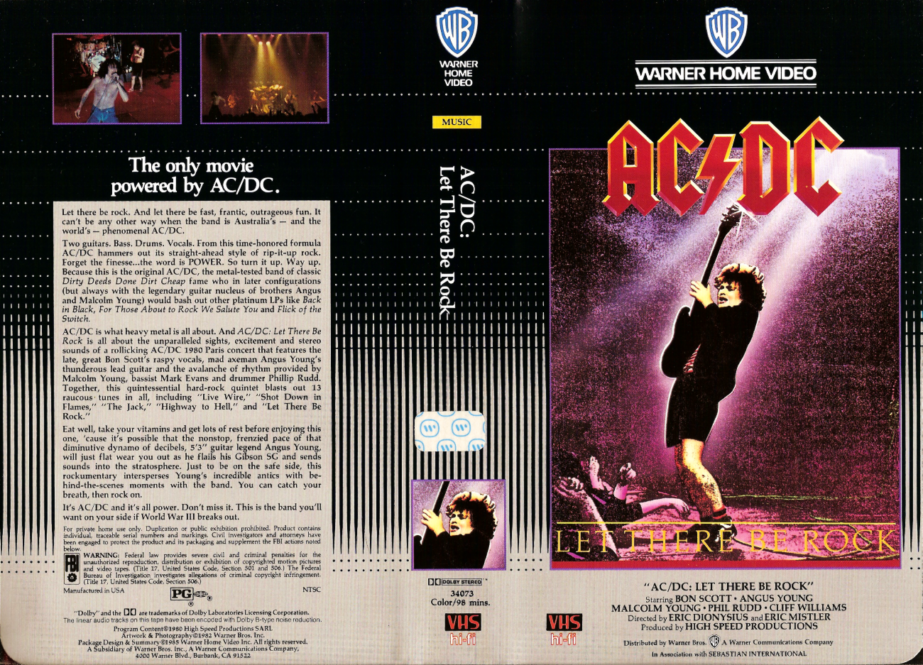 Basement Of Ghoulish Decadence Ac Dc Let There Be Rock 1980 1985 Warner Home Video Clamshell Vhs