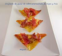 Crujiente de queso de cabra, mermelada de higos y Foie