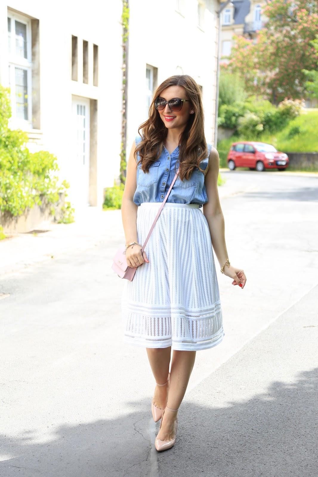 Fashionstylebyjohanna im weißen Rock - Weißer Rock und Jeans Hemd