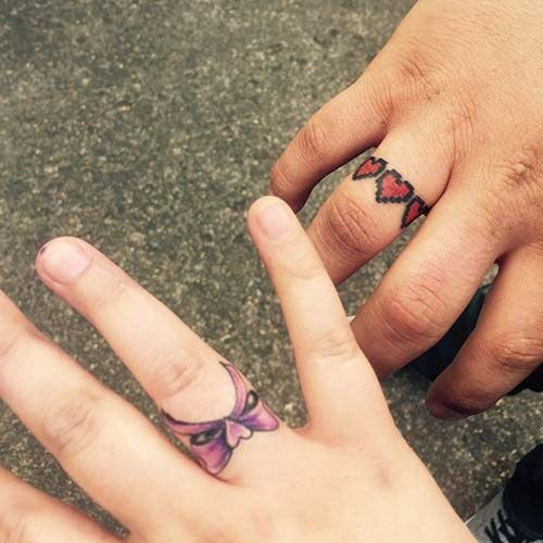 wedding ring couples tattoo yüzük parmağı çift dövmesi modelleri 2