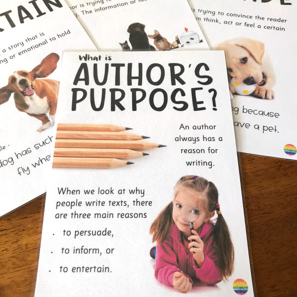 Author's Purpose Poster Set + Classroom Activities | you clever monkey