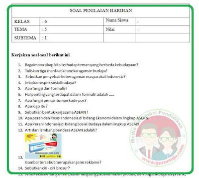 Soal UH / PH Kelas 6 Tema 5 Kurikulum 2013 Revisi 2018