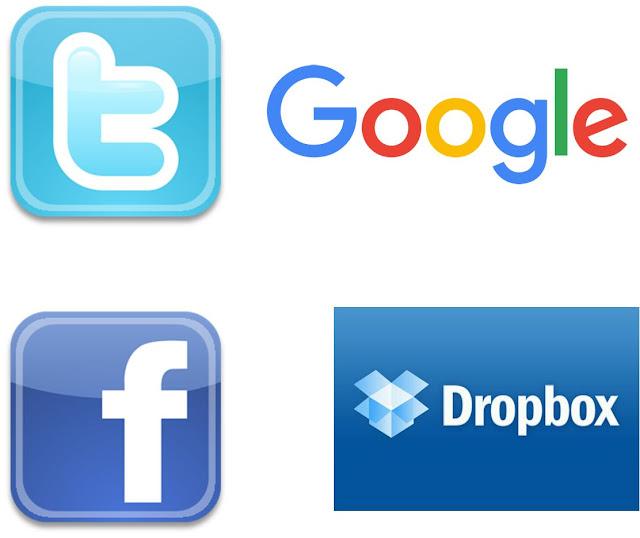 Google, Facebook, Twitter e Dropbox