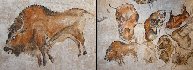 Paintings on the walls of the Cave of Altamira in Spain.
