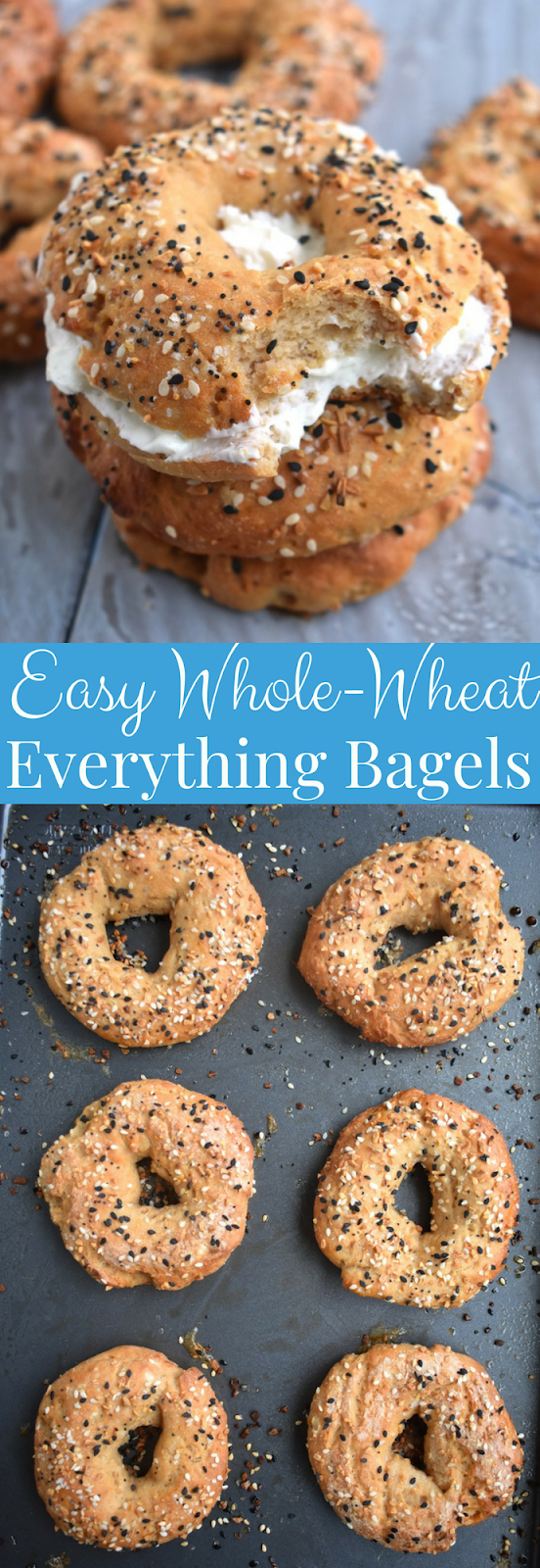 Easy Whole-Wheat Everything Bagels have just 6-ingredients, are made with Greek yogurt, don't require yeast or boiling, are made in the oven and can be made ahead of time and frozen! www.nutritionistreviews.com