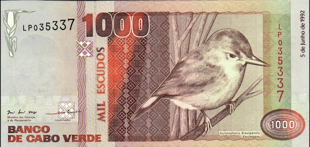 Currency of Cape Verde 1000 Escudos banknote 1992 Warbler