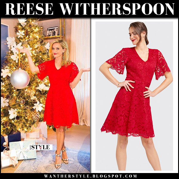 Reese Witherspoon in red lace dress draper james christmas tree presents december 13 instagram
