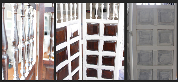 Old white ASCP used on wooden screen as headboard