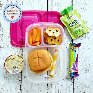 Lunch box fun with a chicken patty sandwich. In our @easylunchboxes #lunchboxideas