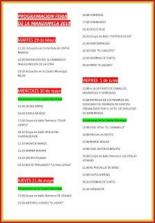 Programación Feria de la Manzanilla 2018 - 29 de mayo al 1 de junio
