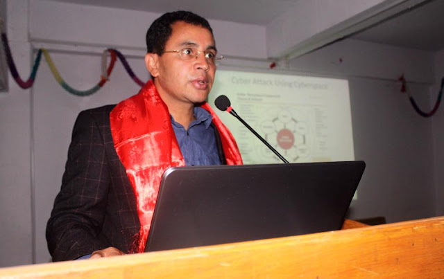 Dr. Ramhari Subedi Giving his speech about Cyber Security