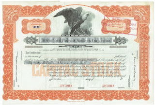 ABN printer specimen of early IBM stock certificate
