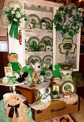 St. Patrick's Day China cupboard and decor
