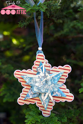 Six Pointed Star Snowflake Christmas decoration with two ballerinas in the center