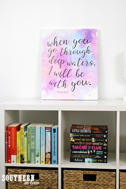 Easy DIY Canvas Quote Art How To – Free inspirational quote prints and handmade home decor - Free downloadable watercolor bible verse art