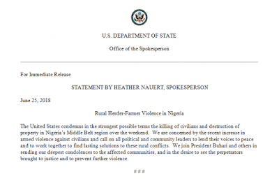 US Department Of States Condemns Killings In Nigeria