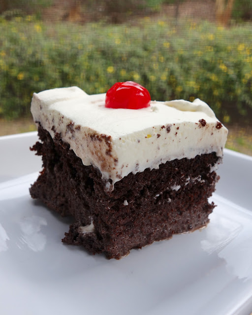 Chocolate Très Lèche Cake - amazing!!! SO easy and this tastes fantastic! Cake mix, cinnamon soaked in sweetened condensed milk, evaporated milk, half-and-half, cocoa powder. Top with homemade whipped cream and cherries. This cake gets better as it ages. A huge hit at our Cinco de Mayo party!!