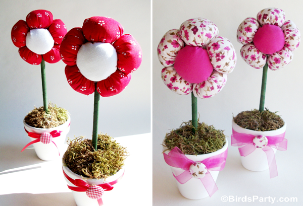 DIY Plush Flower Pots Centerpiece Tutorial - BirdsParty.com