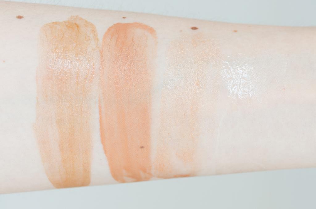 Swatches flüssige Bronzingprodukte