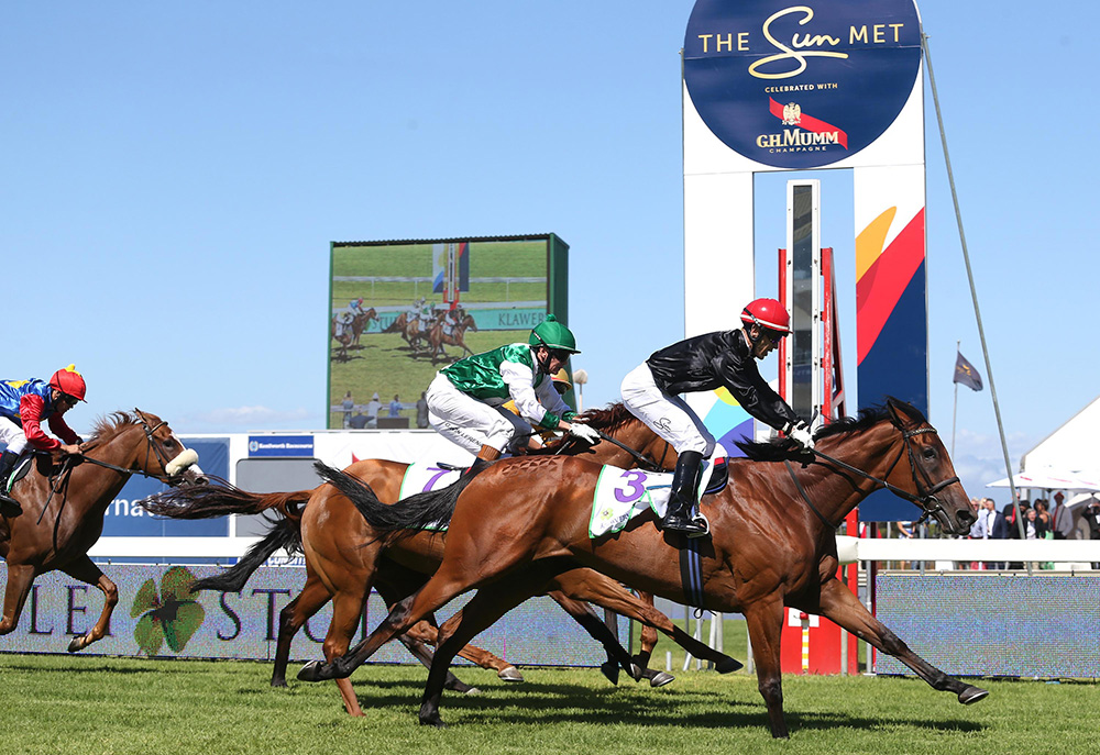 Sun Met Day - Horses crossing the line in front of the Sun Met post at Kenilworth Racecourse