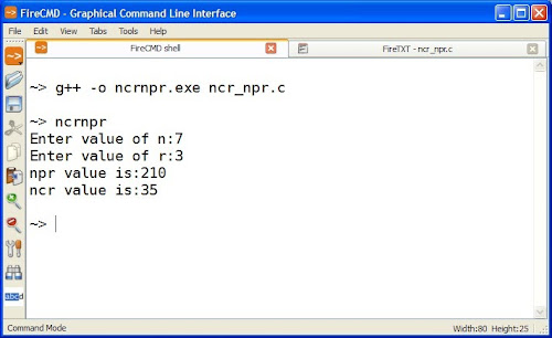 C Program for nCr and nPr