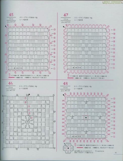 Motivos Quadrados e Sextavado de Crochê Com Gráfico 16 Motivos de Crochê Com Gráfico 16 - Revista Lacework Floral Design