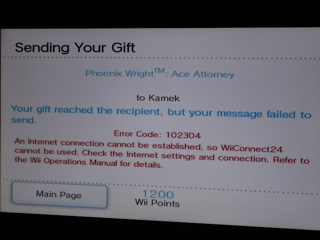 Wii Shop Channel WiiWare Phoenix Wright Ace Attorney gifted WiiConnect24