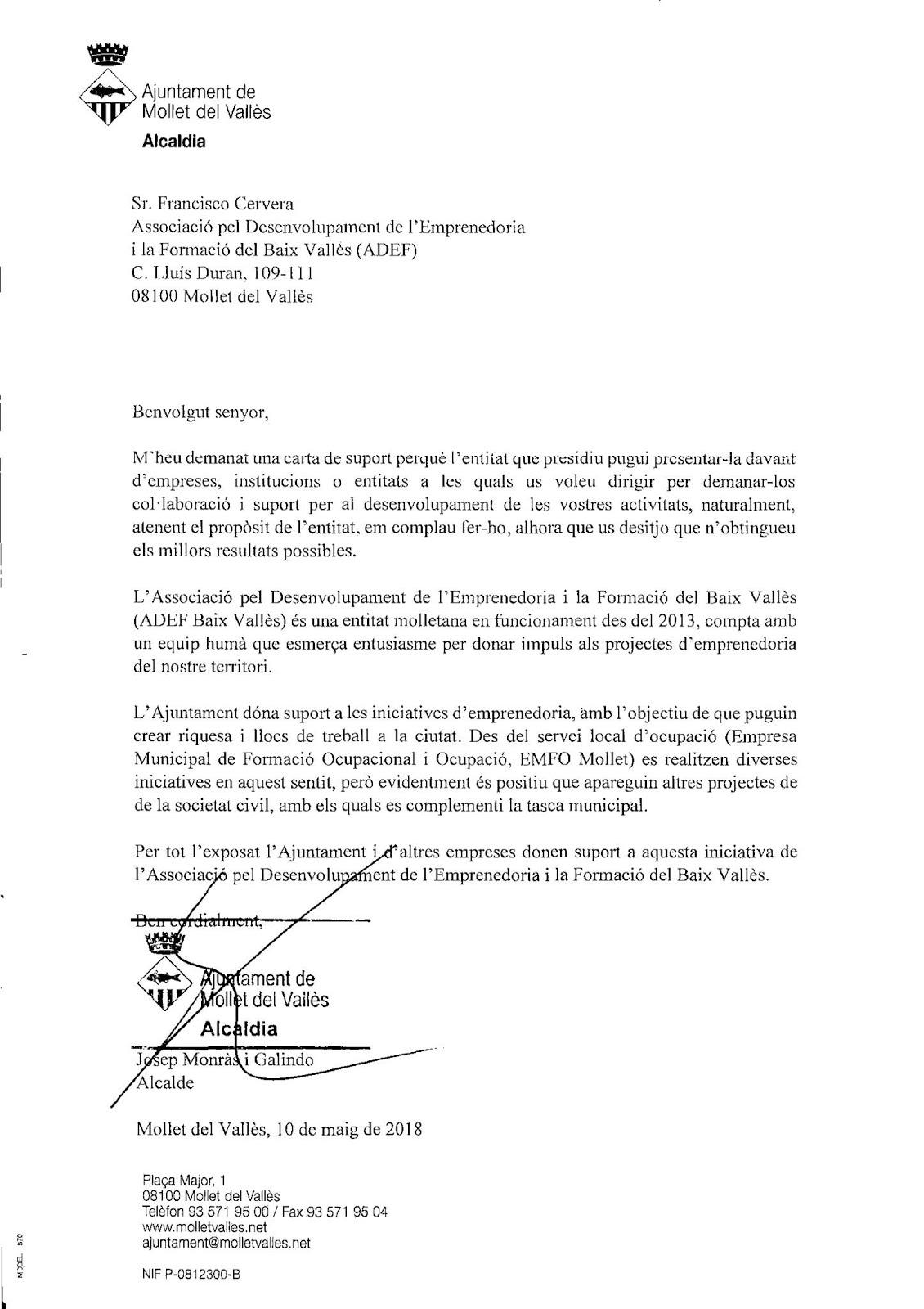 Entidad recomendada por el Ayuntamiento de Mollet del Vallès