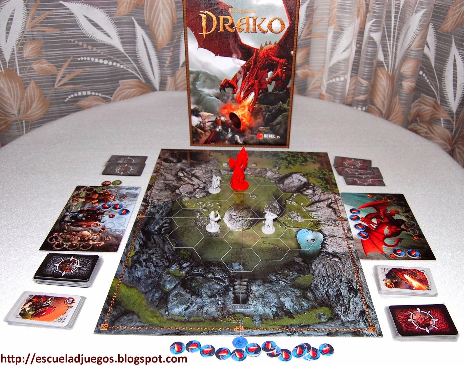 Reseña de Drako, juego de mesa con cartas y miniaturas para 2 jugadores editado por Rebel.pl