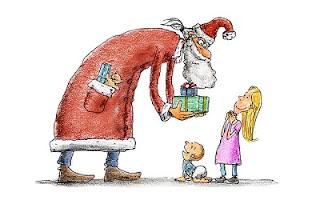 Babbo Natale dà i regali ai bambini