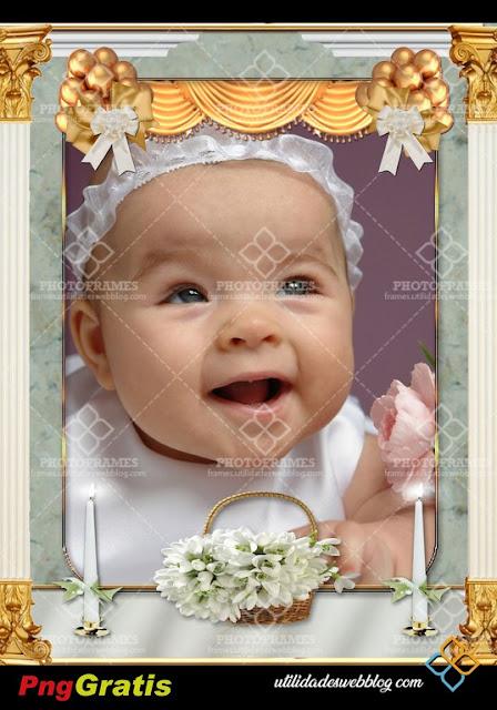 marco para fotos de bautizo, comunión y confirma con flores y velas