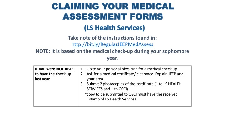 Junior Engagement Program INSTRUCTIONS FOR CLAIMING MEDICAL - medical clearance forms