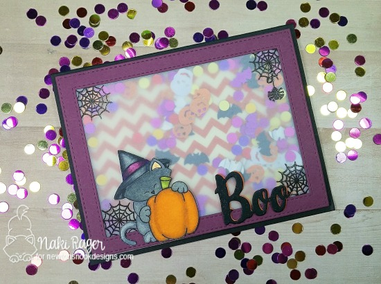 Halloween Kitty Shaker Card by Nakaba Rager  | Newton's Perfect Pumpkin Stamp set by Newton's Nook Designs #newtonsnook