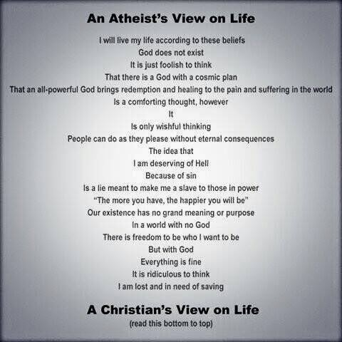 Atheist vs Christian Life View Meme Picture