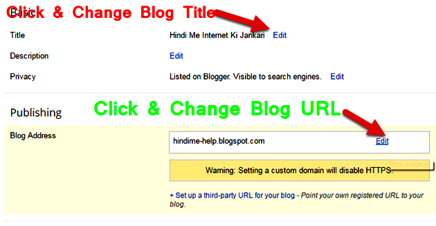 How to rename blogger url and title