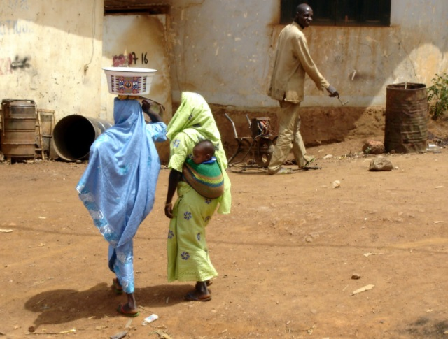 Coming home from market in Yaounde Cameroon Africa