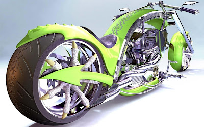 Heavy Wheel Green Custom Chopper Motorcycle