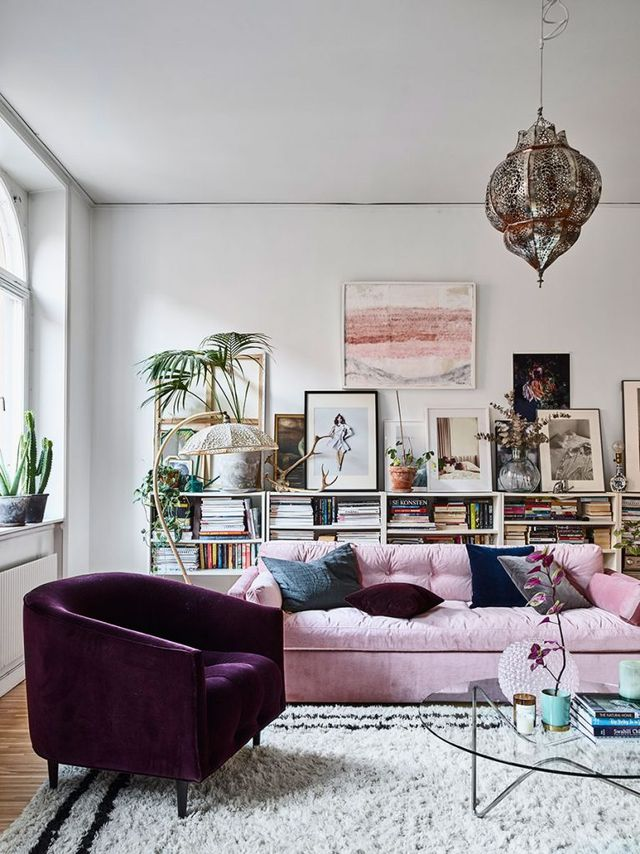bohemian apartment, scandinavian interior, purple chic, pink sofa houseplants, interior design, eclectic apartment