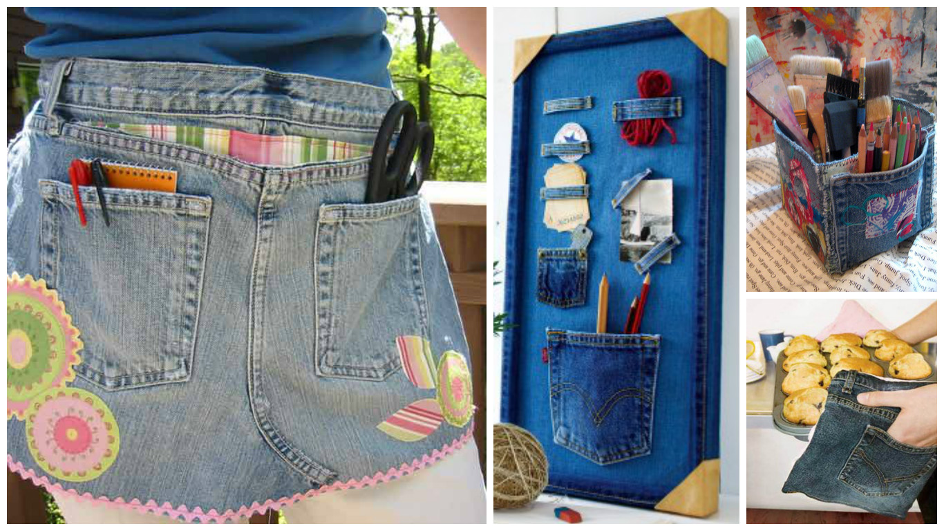 11 ideas para reciclar los pantalones jeans viejos o rotos for Decoracion reciclaje ideas