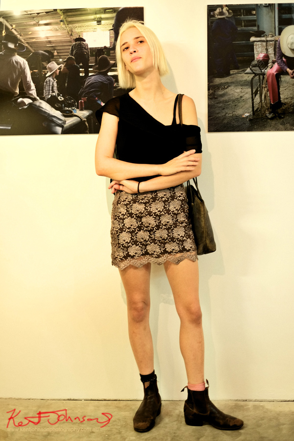 "Street Fashion Sydney, black of shoulder top lace skirt and RM Williams boots at 'The ""8"" Second Ride' at ArtSHINE Gallery. Photographed by Kent Johnson."
